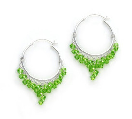 Sterling Silver Hoop Swarovski Elements Crystals Earrings, Spring Green