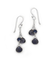 Sterling Silver Briolette Cascade Drop Earrings, Iolite