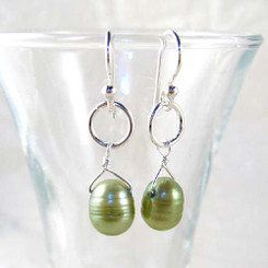 Sterling Silver Circle Charm Top Drill Cultured Pearl Drop Earrings, Spring green