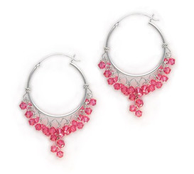 Sterling Silver Hoop Swarovski Elements Crystals Earrings, Rose