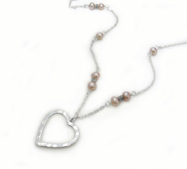 Sterling Silver Textured Heart Cultured Pearl Pendant Necklace, Pink