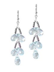Sterling Silver Faceted Teardrops Tiered Wire-Wrapped Earrings, Aqua