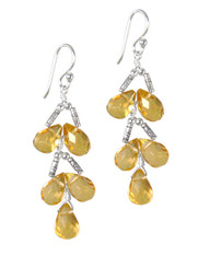Sterling Silver Faceted Teardrops Tiered Wire-Wrapped Earrings, Yellow