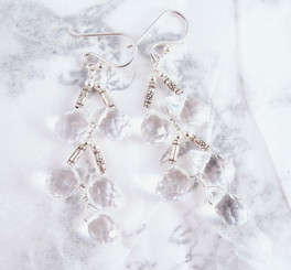 Sterling Silver Faceted Teardrops Tiered Wire-Wrapped Earrings, Clear