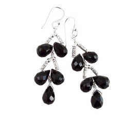 Sterling Silver Faceted Teardrops Tiered Wire-Wrapped Earrings, Black