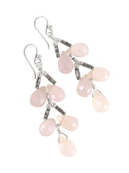 Sterling Silver Faceted Teardrops Tiered Wire-Wrapped Earrings, Pink