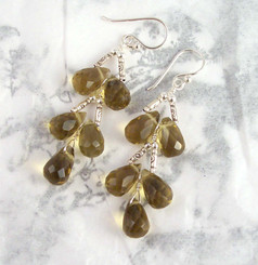 Sterling Silver Faceted Teardrops Tiered Wire-Wrapped Earrings, Smoke