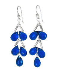 Sterling Silver Faceted Teardrops Tiered Wire-Wrapped Earrings, Midnight Blue
