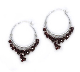 Sterling Silver Hoop Swarovski Elements Crystals Earrings, Siam