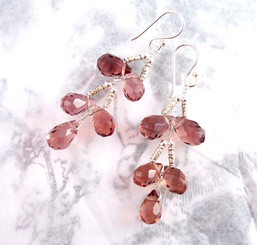 Sterling Silver Faceted Teardrops Tiered Wire-Wrapped Earrings, Purple