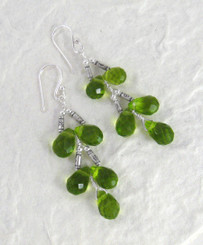 Sterling Silver Faceted Teardrops Tiered Wire-Wrapped Earrings, Spring Green