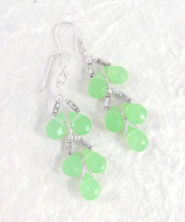 Sterling Silver Faceted Teardrops Tiered Wire-Wrapped Earrings, Sea Green