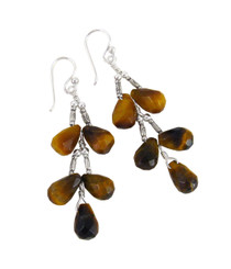 Sterling Silver Faceted Teardrops Tiered Wire-Wrapped Earrings, Tiger's Eye
