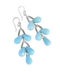 Sterling Silver Faceted Teardrops Tiered Wire-Wrapped Earrings, Sky Blue