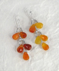 Sterling Silver Faceted Teardrops Tiered Wire-Wrapped Earrings, Carnelian
