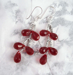 Sterling Silver Faceted Teardrops Tiered Wire-Wrapped Earrings, Red