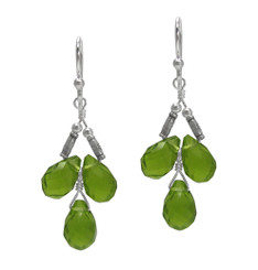 Sterling Silver Faceted Teardrops Three Stone Wire-Wrapped Earrings, Spring Green