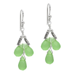 Sterling Silver Faceted Teardrops Three Stone Wire-Wrapped Earrings, Sea Green