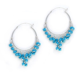 Sterling Silver Hoop Swarovski Elements Crystals Earrings, Sky Blue