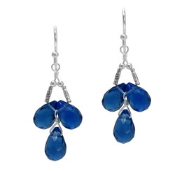Sterling Silver Faceted Teardrops Three Stone Wire-Wrapped Earrings, Midnight Blue