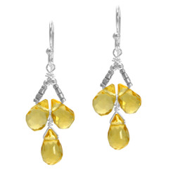 Sterling Silver Faceted Teardrops Three Stone Wire-Wrapped Earrings, Yellow