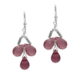 Sterling Silver Faceted Teardrops Three Stone Wire-Wrapped Earrings, Purple