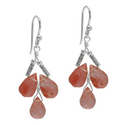 Sterling Silver Faceted Teardrops Three Stone Wire-Wrapped Earrings, Cherry Quartz