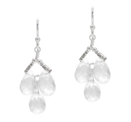 Sterling Silver Faceted Teardrops Three Stone Wire-Wrapped Earrings, Clear