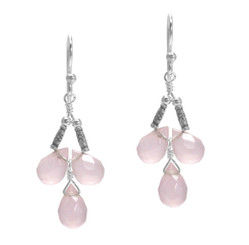 Sterling Silver Faceted Teardrops Three Stone Wire-Wrapped Earrings, Pink