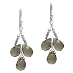 Sterling Silver Faceted Teardrops Three Stone Wire-Wrapped Earrings, Smoke