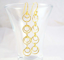 Gold Plated Sterling Silver Circles in Circles Links Drop Earrings