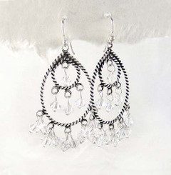 Sterling Silver Twist Rope Teardrop Circle Open Chandelier Earrings, Clear