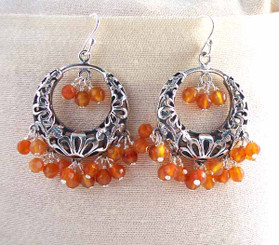 Sterling Silver Flower Circle Charm Bead Chandelier Earrings, Carnelian