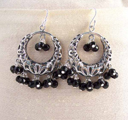 Sterling Silver Flower Circle Charm Bead Chandelier Earrings, Black