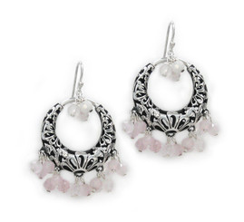 Sterling Silver Flower Circle Charm Bead Chandelier Earrings, Rose Quartz