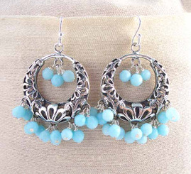 Sterling Silver Flower Circle Charm Bead Chandelier Earrings, Sky Blue