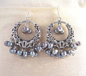 Sterling Silver Flower Circle Charm Bead Chandelier Earrings, Cultured Pearl Peacock