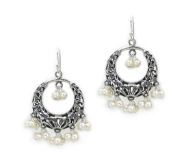 Sterling Silver Flower Circle Charm Bead Chandelier Earrings, Cultured Pearl White