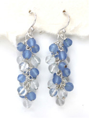Sterling Silver Gemstone Cluster Drop Earrings, Blue Quartz Combo
