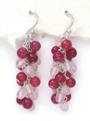 Sterling Silver Gemstone Cluster Drop Earrings, Strawberry Quartz Combo