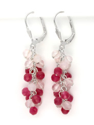 Sterling Silver Gemstone Cluster Drop Leverbacks Earrings, Strawberry Quartz Combo