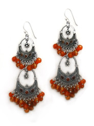 Sterling Silver Aryana Two Tiered Chandelier Earrings, Carnelian