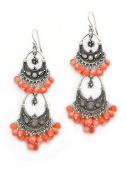 Sterling Silver Aryana Two Tiered Chandelier Earrings, Coral
