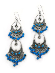 Sterling Silver Aryana Two Tiered Chandelier Earrings, Blue Howlite
