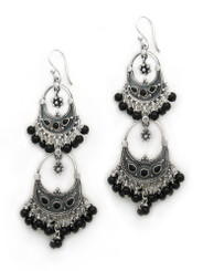 Sterling Silver Aryana Two Tiered Chandelier Earrings, Onyx