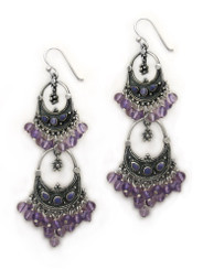 Sterling Silver Aryana Two Tiered Chandelier Earrings, Amethyst