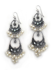 Sterling Silver Aryana Two Tiered Chandelier Earrings, Cultured Pearl White