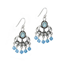 "Sterling Silver and Beaded Drops ""Francine"" Earrings, Aqua Blue  Sos..."