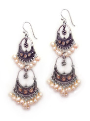 Sterling Silver Aryana Two Tiered Chandelier Earrings, Cultured Pearl Pink