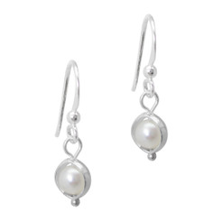 Sterling Silver Cultured Pearl Circle Frame Dainty Drop Earrings